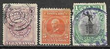 1892-1910 COSTA RICA Set of 3 USED STAMPS (Scott # 37,72,45)