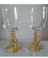 2 Disney Winnie The Pooh 3D Water Goblets Amber Honey Colored Glasses Vintage