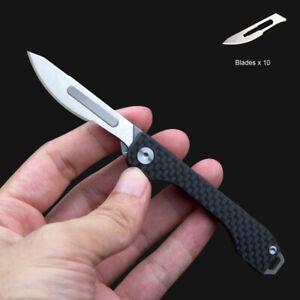 Carbon Fiber Knife Scalpel Blade Pocket EDC Survival Camping Folding Keychain