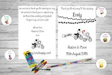 Personalised Childrens Kids Wedding Activity Pack Book Favour Cute Bike AB128
