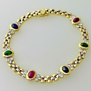 ANTIQUE C. 1920 DECO 18K GOLD SAPPHIRE EMERALD RUBY DIAMOND TENNIS BRACELET