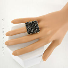 JENNIFER LOPEZ Size 7 Women's BLACK RING with Faux CRYSTALS Square GOLD Tone