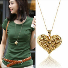 Elegant Women Hollow Peach Heart Charm Necklace Sweater Chain Pendants Jewelry