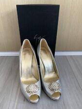 Giuseppe Zanotti Open Toe Heels in Silver size 37.5 - Authentic Free Shipping