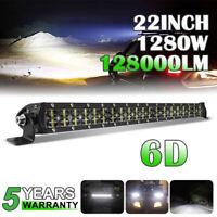 6D 22inch 1280W LED Work Light Bar Flood Spot Combo Offroad Truck Roof Driving