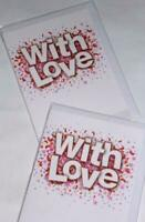 BON BON 'CONFETTI' WITH LOVE CARDS x 12-JUST 27p! textured board-wrapped (B303
