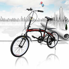 Unisex 20 inch Foldable Bike ,7 Speed V-brakes Commuter Bicycle ,Carbon Steel