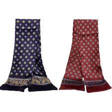 Men's 100% Silk Long Scarf Neckerchief Double Layer Cravat Blue Red Brown Black