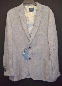 Roundtree Yorke Caribbean Blues Men Sport Coat Jacket Blazer Linen Grey L XL