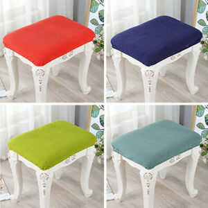 Stretchy Dressing Stool Cover Rectangle Solid Makeup Chair Protector Slipcovers