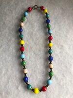 1930s Harlequin Glass Necklace Multi Coloured Rainbow Vintage Jewellery Jewelry