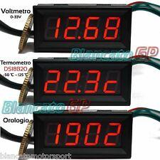 3in1 VOLTMETRO TERMOMETRO OROLOGIO da pannello LED ROSSO 0-33V DS18B20 auto