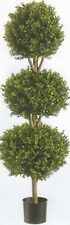 One 56 inch Outdoor Artificial Boxwood Triple Ball Topiary Tree Potted UV Plant