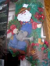 Christmas Bucilla Felt Applique Holiday Stocking Craft Kit,GARDEN SANTA,85428,18