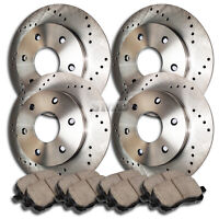A0943 2003 2004 2005 2006 EXPEDITION CROSS DRILLED BRAKE ROTORS CERAMIC PADS F+R