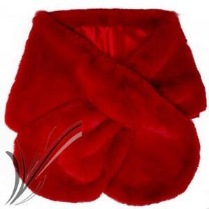 Stola rossa pelliccia elegante eco invernale cerimonia mantella scialle