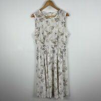 Fleur Wood Womens Dress 14 Petite White Floral Sleeveless Round Neck Pleated