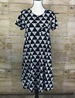 LuLaRoe CARLY Dress Black White Triangles Pyramid Geometric Womens Size XS