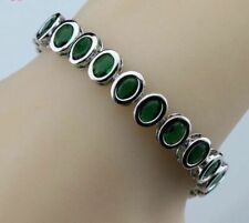 925 Sterling Silver Oval Shaped Garnet Sapphire Emerald etc Tennis Bracelet
