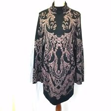 NWOT FREE PEOPLE sz M BLACK FLORAL PRINTED LONG SLEEVE SHIFT DRESS
