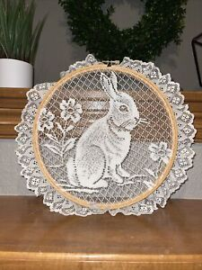 Large Embroidery Lace Bunny Wall Hanging Doily Art Easter Country Decor