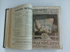 IL ROMANZO MENSILE - 12 romanzi rilegati dal 1906 al 1910 - ARSENIO LUPIN