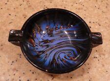 Vintage Nason Murano Aventurine Glass Ashtray Blue Black Copper Flecks Italy
