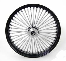 "Black/Chrome 48 King Spoke 21x3.5"" DD Front & 16x3.5"" Rear Wheel Set for Harley"