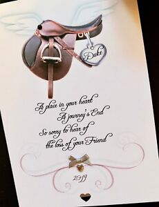 Personalised Handmade 'loss of your pet'  HORSE Sympathy Card