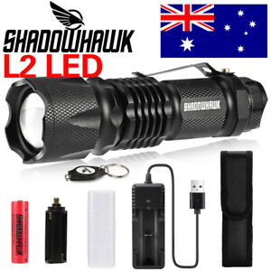 Shadowhawk LED Flashligh 90000LM L2 LED USB Rechargeable Tactical Compact Torch