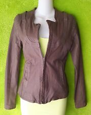 Diesel leather/cotton women coat jacket taupe Beige brown  sz XS-S-2-4-6 tall