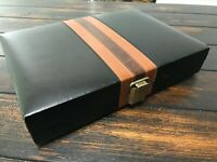"Vtg Backgammon Set Game in Folding Faux Leather Case COMPLETE 10x12"" Travel Size"
