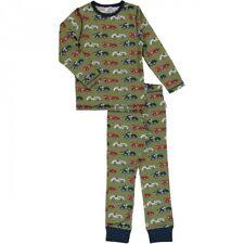 maxomorra Pyjama Set Schlafanzug lang Race Car grün