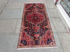 Vintage Traditional Hand Made Oriental Blue Red Wool Short Runner 202x91cm