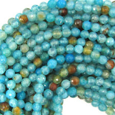 """6mm faceted blue dragon vein agate round beads 14.5"""" strand"""
