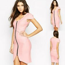 Sz 12 14 Cap Sleeve Pink Formal Sexy Slim Fit Cocktail Party Evening Club Dress