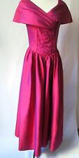 Vintage Laura Ashley Ruby Red Dupion Silk Evening Ball Gown Size UK10,EUR36,USA6