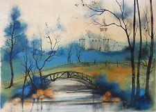 Jeannine BLANCHETEAU, dite KOSTIA-B (1928-2013) Gouache Jeune Peinture