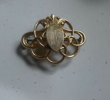 "Vintage Antique Brooch ""IF"" 1900s Victorian gold/brass- NZ antique estate-rare"