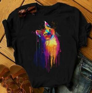 Colourful Hand Drawn original cat T-shirt
