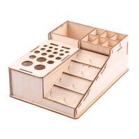 Wooden Paint Bottles Rack Model Organizer Epoxy Tools Storage Box Holder Ca A8J5