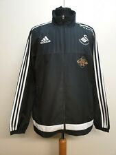 CC685 MENS ADIDAS SWANSEA CITY FC BLACK WHITE LIGHT TRACKSUIT JACKET UK L EU 52