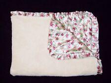 Baby Gear Cream Ivory Maroon Flower Floral Butterfly Blanket Ruffle Satin Trim