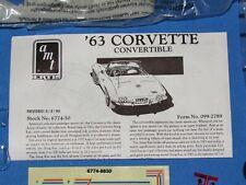 1963 CORVETTE CONVERTIBLE 1/25 SCALE AMT ERTL MODEL KIT NO BOX