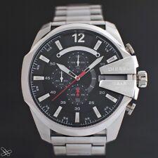 DIESEL Chronograph Herrenuhr DZ4308 Mega Chief Edelstahl Farbe: Silber Schwarz