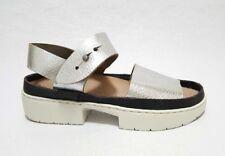 NEW Trippen Traffic Nickel Sandal Silver White Straps Made in Germany EU 35