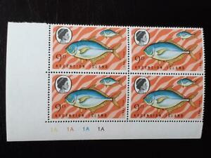 ASCENSION SG 127w MNH Plate Block 1A 1970 Fishes 3rd Series CROWN RIGHT OF CA