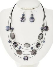 Multi Row Layer Glass Stone Crystal Bead Strand Statement Earrings Necklace Set