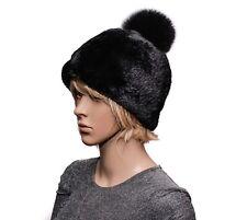 Genuine Real Black Sheared Beaver & Black Fox Fur Ladies Handmade Beanie Hat