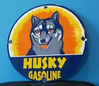 VINTAGE HUSKY GASOLINE PORCELAIN GAS OIL SERVICE STATION PUMP PLATE SIGN
